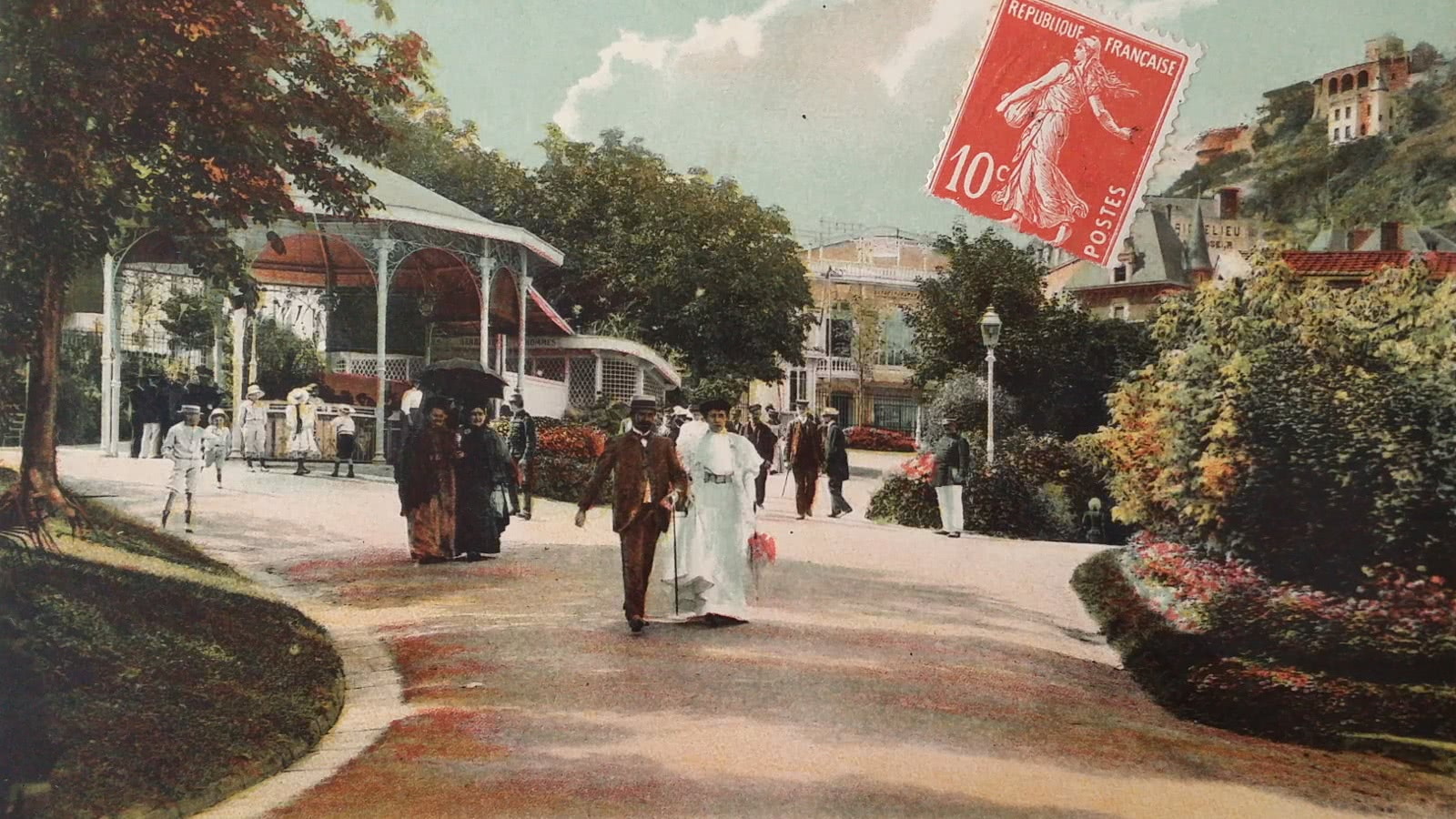 carte postale ancienne parc thermal Royat