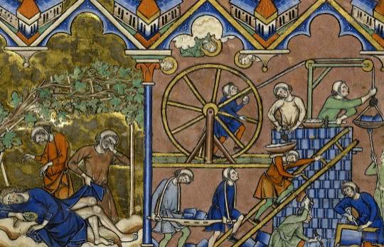 Manuscrit ancien, bible Maciejowski, Samson en prison, Fol. 3r