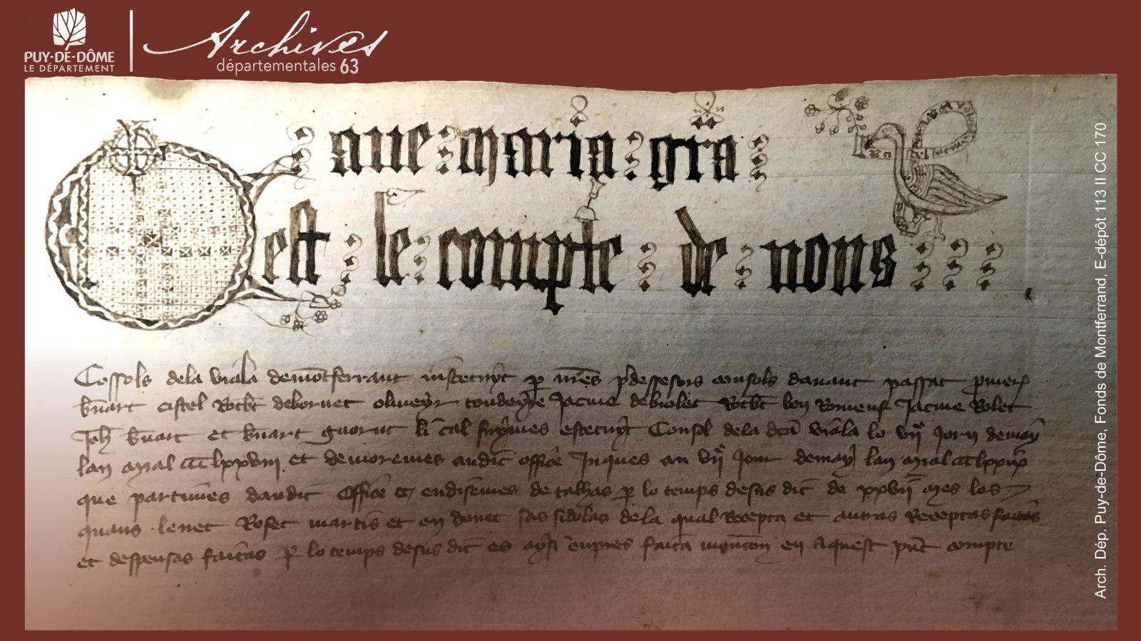 © Extrait des Comptes des consuls de Montferrand, 1378-1384