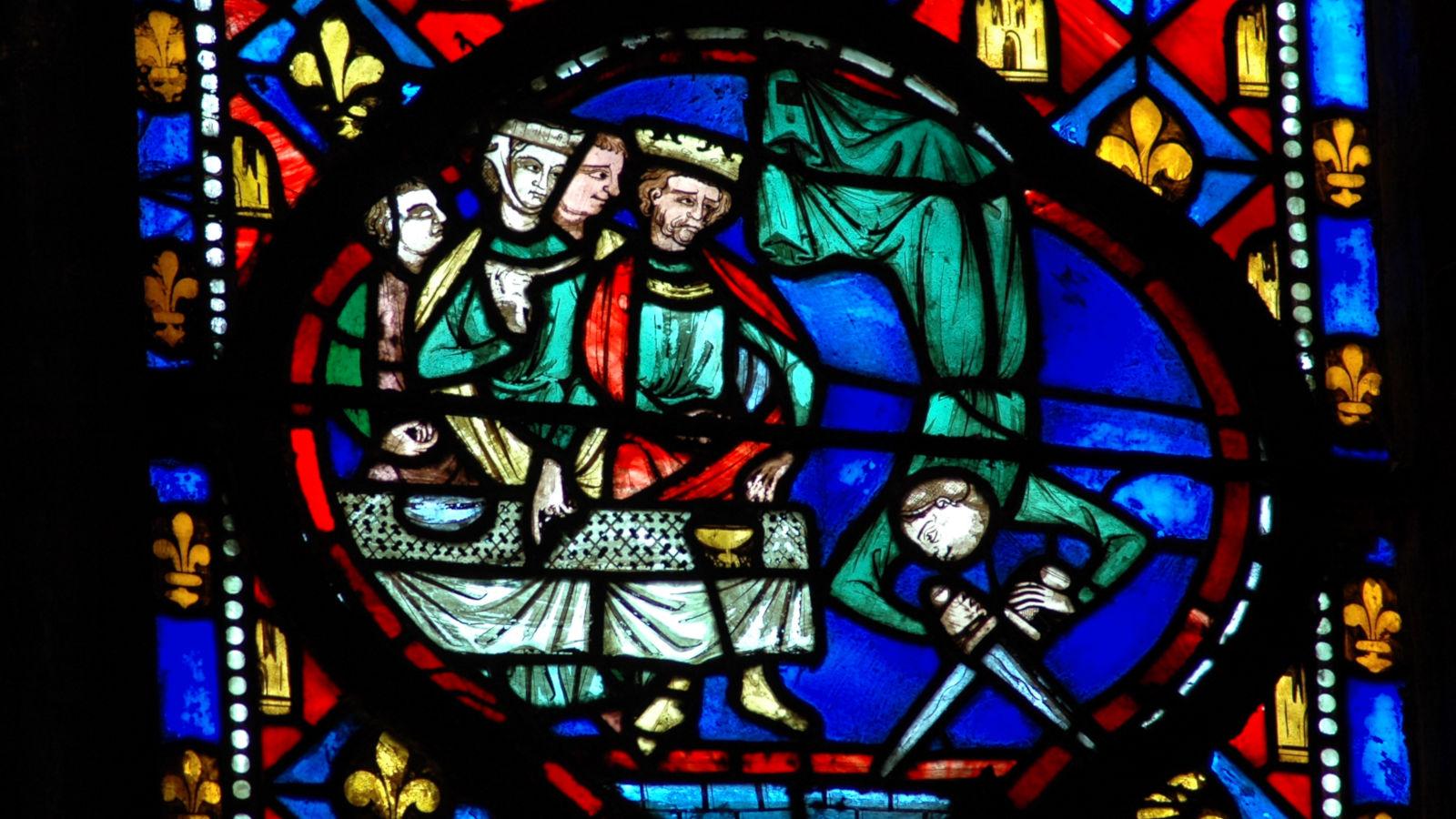 © La danse de Salomé, vitrail XIIIe siècle