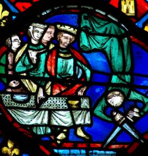 La danse de Salomé, vitrail XIIIe siècle