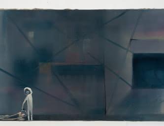 - Ereignis (2.11.07) -  2007 - Huile sur toile - 85 x 160 cm - Collection FRAC Auvergne - Acquisition en 2016